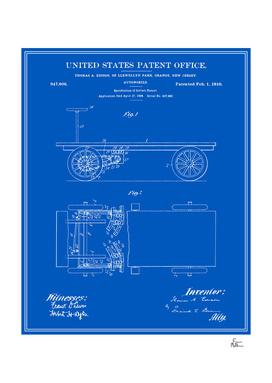 Thomas Edison Automobile Patent - Blueprint