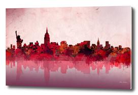 new york city skyline red