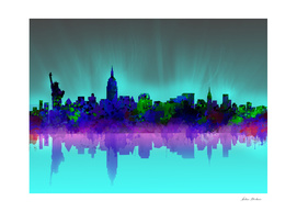 new york city skyline green