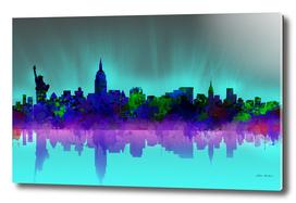 new york city skyline green