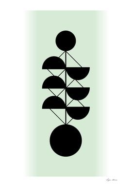 Scandinavian Retro Geometric Design Green Colors