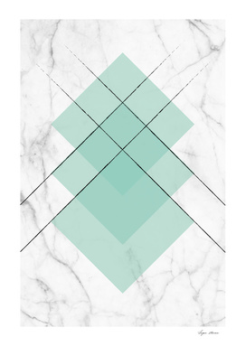 Marble Scandinavian Design Geometric Squares Mint Color