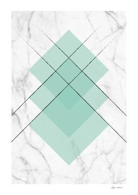 Marble Scandinavian Design Geometric Squares Mint Color
