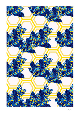 Geo Pop Foliage Pattern - Blue & Yellow