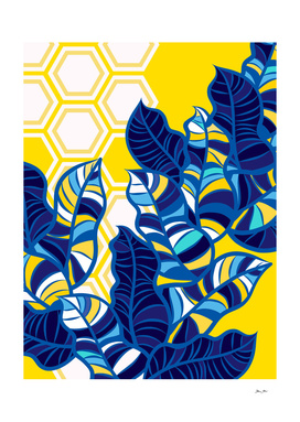 Geo Blue Foliage on Yellow & White
