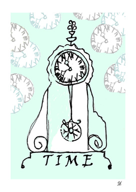Time Drawing  With Aqua Back