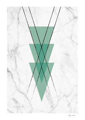 Marble Scandinavian Design Geometric Green Triangles