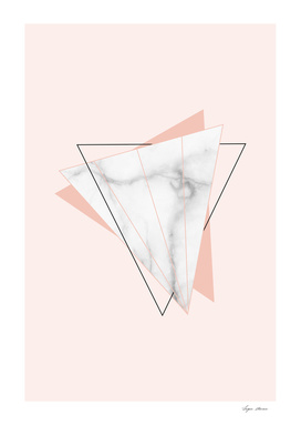 White Marble Geometric Triangle Shapes Salmon Pink