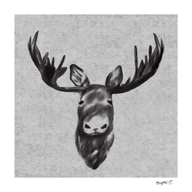 Beautiful Black And White Moose Head Design