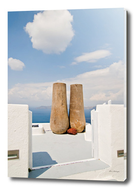 Two big pots on Santorini island