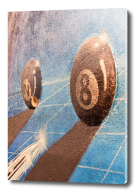 Shot of billiard balls illustration on the wall
