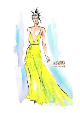 A woman in a long yellow dress