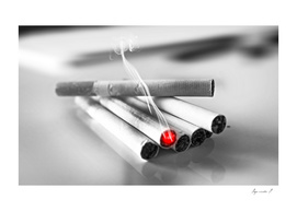 Cigarettes pile black and white