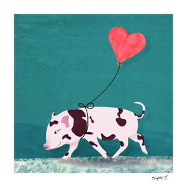 Baby Pig With Heart Balloon