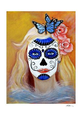 Blue butterfly lady