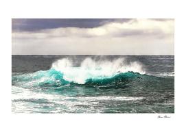 Abstracted Big Ocean Wave Rolls Into Shore