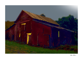 Activity in the Red Barn Under the Pale Moon