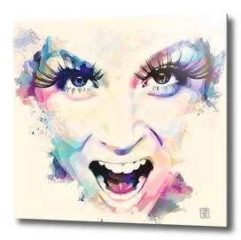 woman roar - painting in watercolor