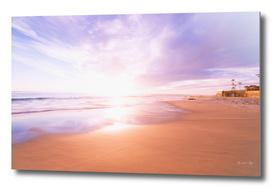 Sunset Beach Scene, Summertime, Pastel Sky