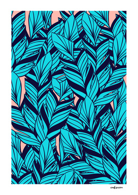 Blue Banana Leaf Pattern