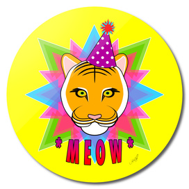 Serious Tiger Cat in Fabulous Party Hat