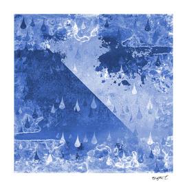 Abstract Blue RainDrops Design