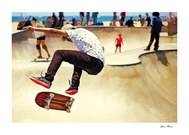 Summer Concrete Skate Board Park at the Beach