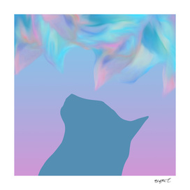 Abstract Dreaming Cat Design