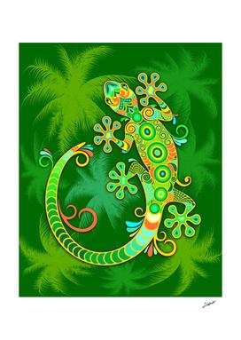 Gecko Lizard Colorful Tattoo Style