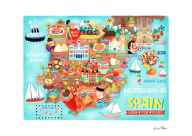 Spain Map Illustration Wall Art