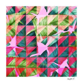 Abstract Hot Pink Banana Leaves Design