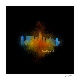 Dark Nashville City Skyline Tennessee watercolor V4
