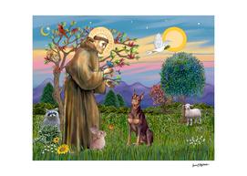Saint Francis Blesses a Red Doberman