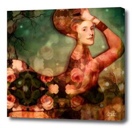 Mermaid among flowers