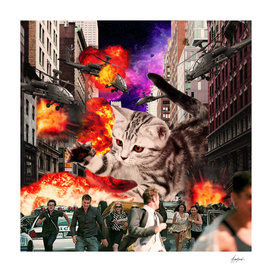Cat Attack New York City Explosions Run Away Invader