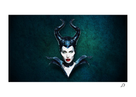 Lowpoly Maleficent Angelina Portrait with dark background