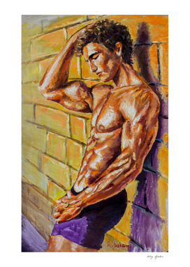 Abstract male is standing by wall Oil Painting on canvas
