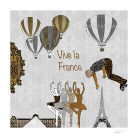 Vive La France (Silver Leaf Background)