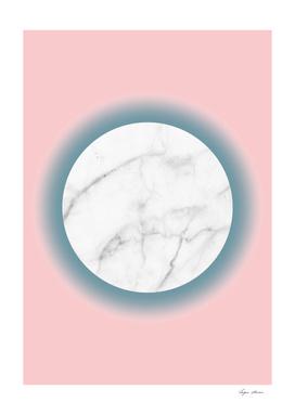 White Marble Circle Blush Millenial Pink Blue Gradien