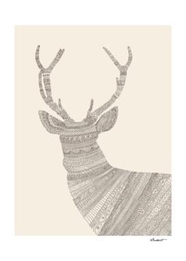 Stag / Deer (On Beige)