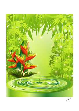 Zen Green Bamboo Heliconias and Water
