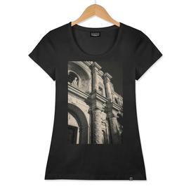 Vintage look facade detail - La Merced Church in Antigua