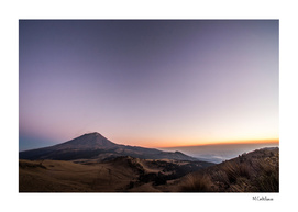 Volcano. Sunset