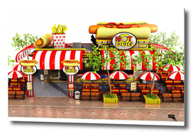 Cartoon Fast Food Restaurant