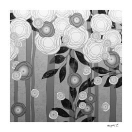Black and White Flowers Design