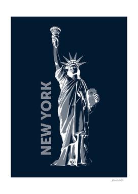 Liberty, New York - Line Graphic, Popart