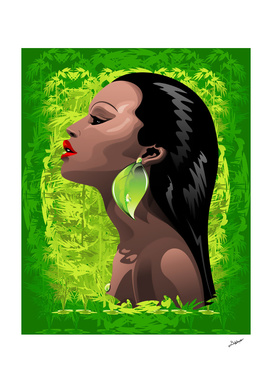 Woman African Beauty and Bamboo