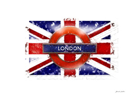 London - Union Jack, Tube Sign - Vintage, Grunge, Street Art