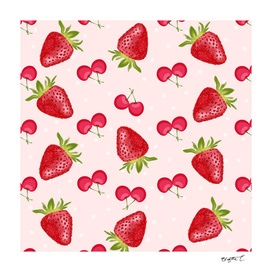 Strawberries Cherries Fiesta Pattern