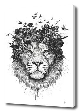 Floral lion (b&w)